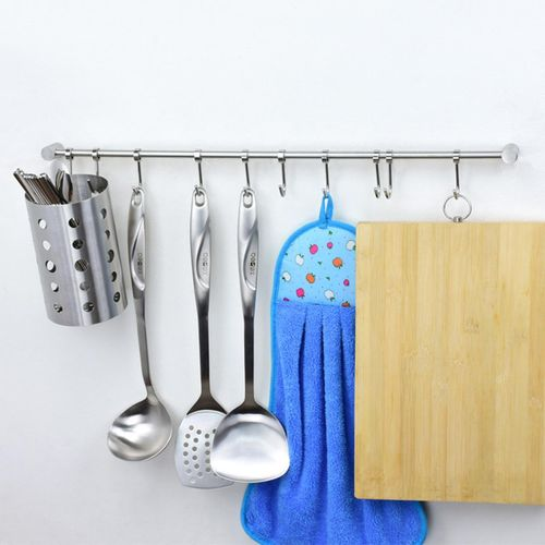 Wall Mount Hanging Pot Pan Rack Organizer Storage Hooks Holder Kitchen Cookware