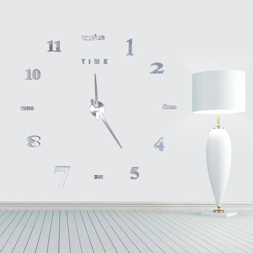 DIY Large Wall Clock 3D Mirror Surface Sticker Home Office Decor(silver)