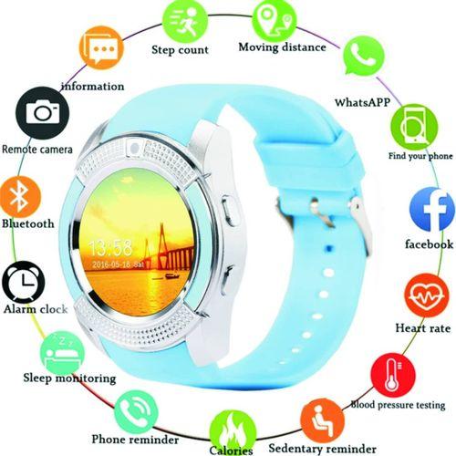 Waterproof Smart Watch With Camera & Sim Slot---BLUE