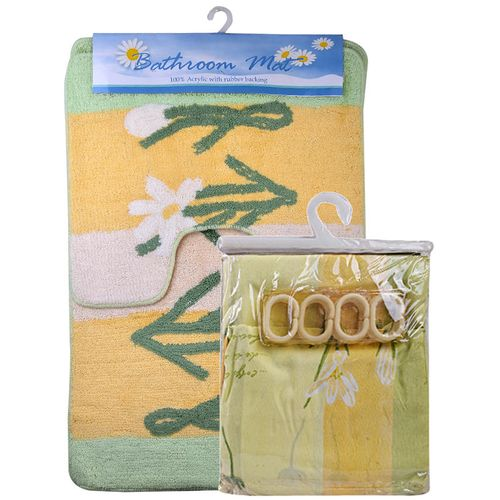 Bathroom Mat And Shower Curtain Set - Yellow