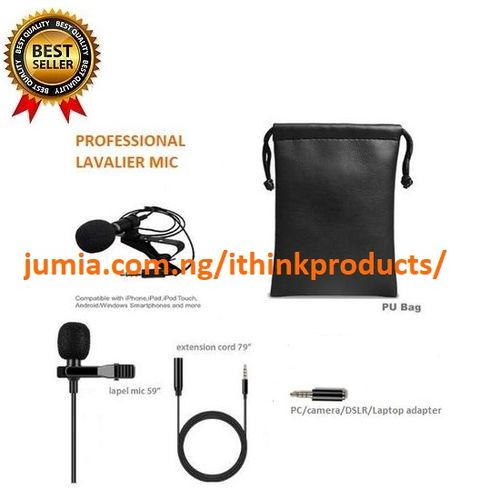 Lapel Microphone Lavalier Clip On Mic Condenser Microphone Interview Audio Recording Microphone
