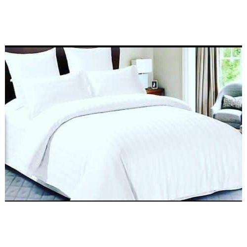 Plain White Set Of Duvet,Bedsheets And Four Pillowcase