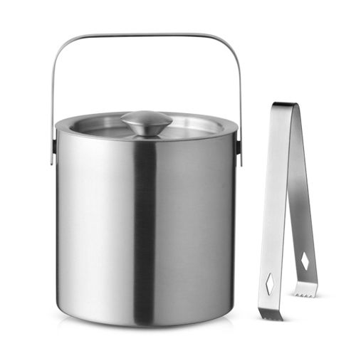 Round Double Tier Stainless Steel Insulated Ice Bucket With Lid Handle