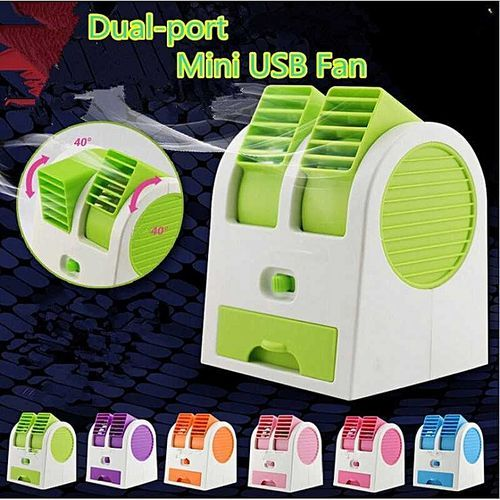 Mini USB Portable Battery Fan Air Condition Double Outlets