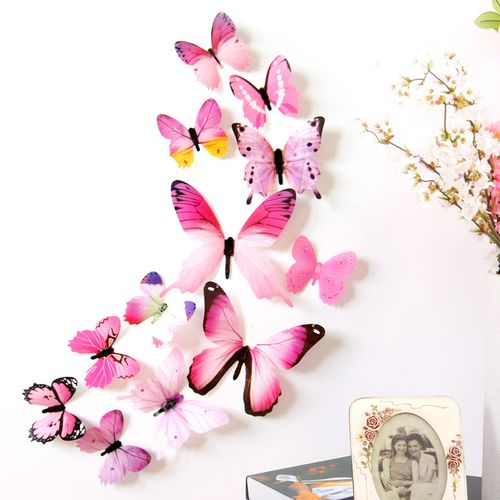 12pcs Decal Wall Stickers Home Decorations 3D Butterfly Wallpaper