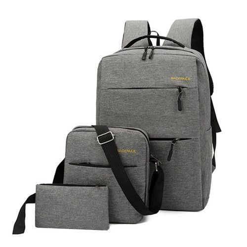 Anti Theft Laptop Bag USB Interface Backpack Durable Grey