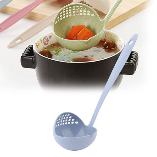 2 In 1 Length Grain Handle Straw Soup Porridge Up With Filter