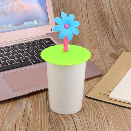 Hot Cute Sunflower Lace Dust Reusable Silicone Cover Cup DIY Free Splicing