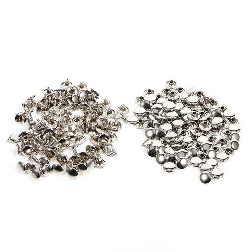 100Sets 8 X 10mm Double Cap Rivet Metal Leather Craft Repairs Studs Spike Decoration (Silver)