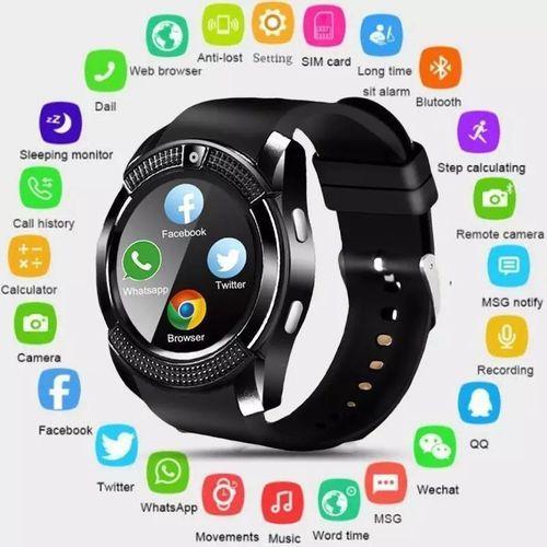 Smart Watch With GSM Sim Remote Camera Sport Watch-Black