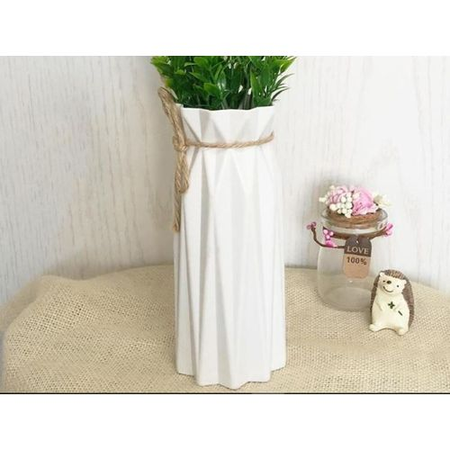 Origami White Vase ( Plastic, No Flower)