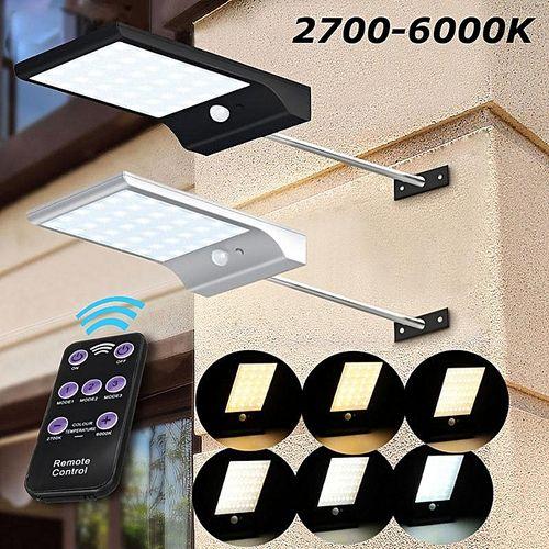 New 48led Solar Light Remote Control PIR Motion Sensor Powered Street Lamp IP65 Black
