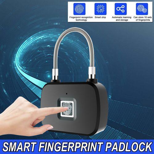 Portable Fingerprint Lock Electronic Smart Keyless Door Padlock Biometric USB