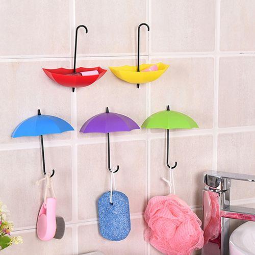 Honana BX 3Pcs Colorful Umbrella Shaped Creative Hanger Decorative Holder Pasties Wall Hook