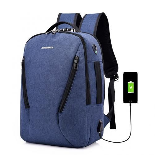 DX Oxford 4-way Anti Theft Smart Bag With Password Lock With USB Charging Port,Travel Backpack, Business,School Bag & Laptop Bag Water Repellant B22 - Large Capacity- Blue