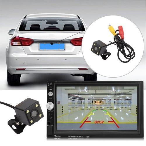 Universal 7023B Auto Car DVD Player Bluetooth MP5 Player FM Radio With Camera Black