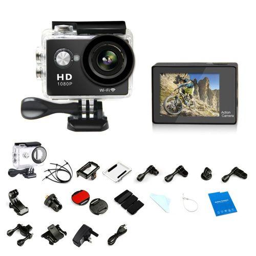 1080P HD WIFI Sports Camera Waterproof Mini Cam LCD Action Camcorder W9 Black