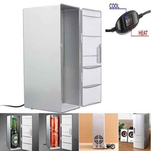 USB Portable Mini Cooling And Heating Fridge Silver Refrigerator Frig