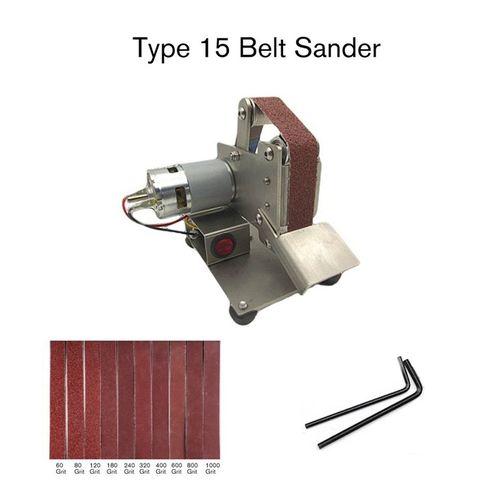 Mini Grinder Electric Belt Sander Polishing Hine Cutter Edges Sharpener-Silver-