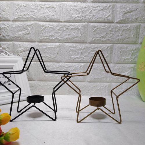 Candlestick Candle Holder Metal Simple Hollow Out Geometric Simple Star Shape Metal Candle Holder Candlestick Home Decor
