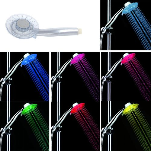 Multicolor LED Shower Head Sprinkler Handheld 7 Color With 2 Adjustable Mode