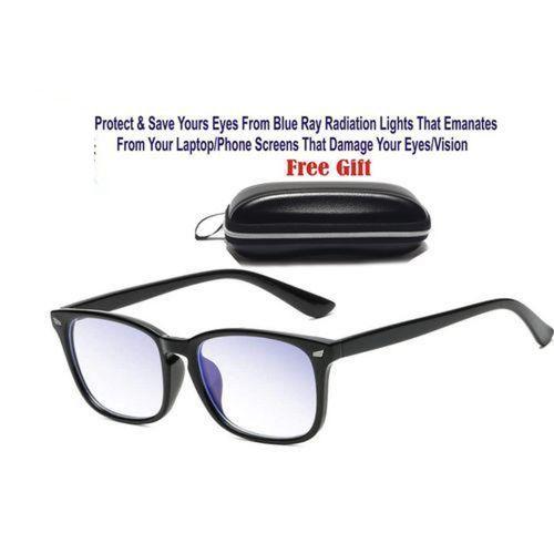 Unisex Blue Light Blocking Glasses For Computer Use, Anti Eyestrain UV Filter Lens Lightweight Frame Eyeglasses, Black.
