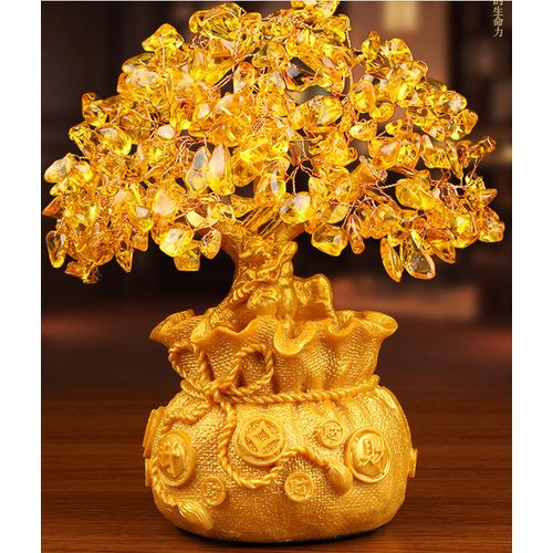 Golden Crystal Citrine Quartz Gemstone Bonsai Healing Reiki Lucky Money Fortune Tree Home Office Decorations Ornament Gifts