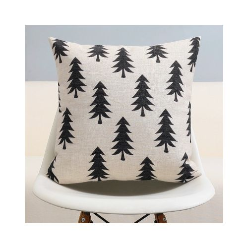 Nordic Forest Black White Gray Pillow , Geometric Cushions