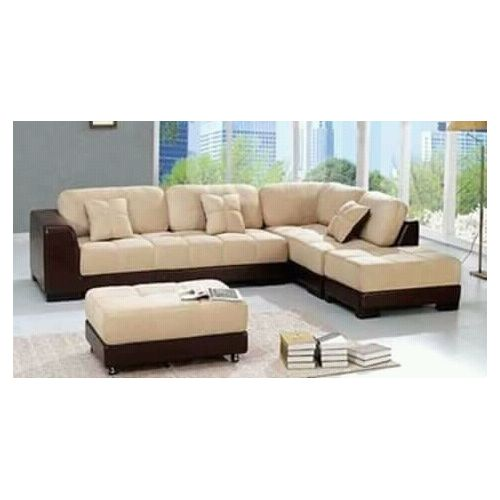 Brown Leather And Cream Fabric 5 Seater L Shape Sofa + Free Ottoman (Delivery To Lagos Only)