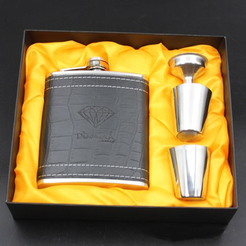 7oz Hip Whisky Flask Set, Leather Case Free Wine Cups,Funnel