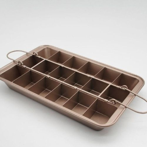 OR Non-Stick Brownie Pan With Divider Baking Bread Cake Oven Mold Tray Brown