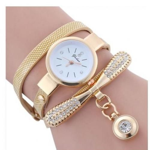 Elegant Fashion Women Leather Rhinestone Wrist Watch-Gold