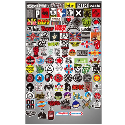 Rock And Roll Music Sticker Decals Packs For Water Bottle