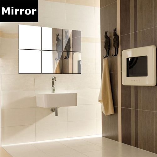 16Pcs Bathroom Removeable Self-adhesi Ve Mosaic Tiles Mirror
