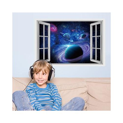 Honana 3D Star Bright Planet Bedroom Living Room Wall Stickers Home Decor Mural Art Removable Planet Wall Decals
