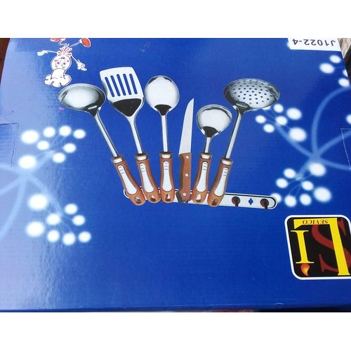 Cooking Set Utensils, Spoons Knives Forks And Wall Rack.