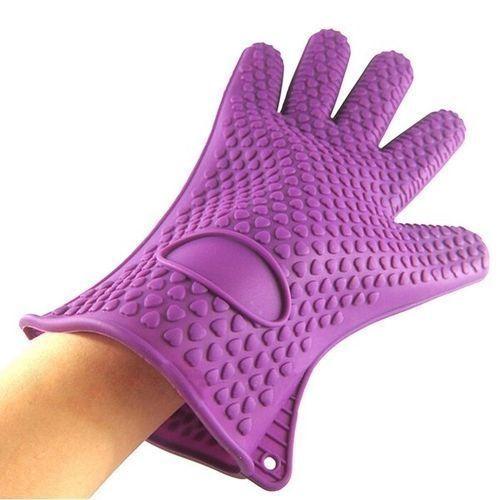 Silicone Kitchen Heat Resistant Glove Pot Holder Purple -1pc