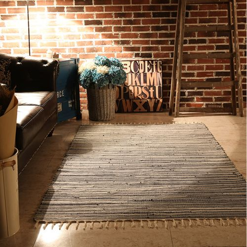 Dtrestocy Area Rugs Mediterranean Style Cotton Kitchen Oblong Shape Multi-Usage