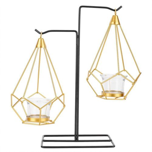 Modern Simple Metal Geometric Glass Candle Holder Stand Room