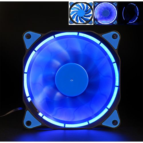 Muliawu Store Quiet 120mm 12V 3+4pin LED Effects Clear Computer Case Fan For Radiator Mod BU-Blue