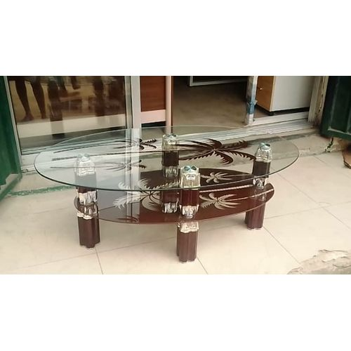 Center Table Tempered Glass Coffee(Transparent Top) Brown