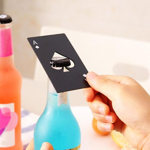 2pcs Steel Beer Bottle Cap Opener Poker Playing Card Spades Bar Kitchen Too