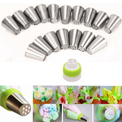 17Pcs Russian Tulip Flower Icing Piping Nozzles Cake Decoration Tips Baking Tools