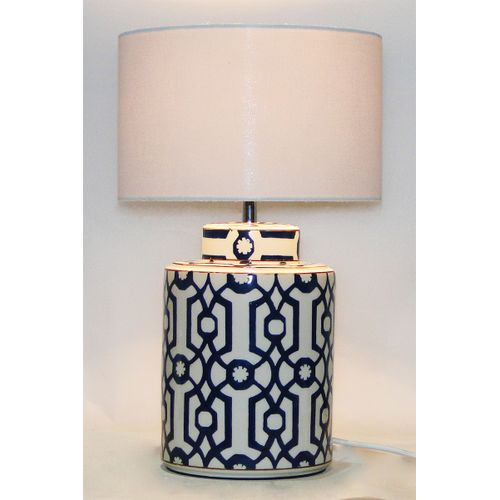 Dark Brown And White Block Painted Ceramic Table Lamp, Hot Sale