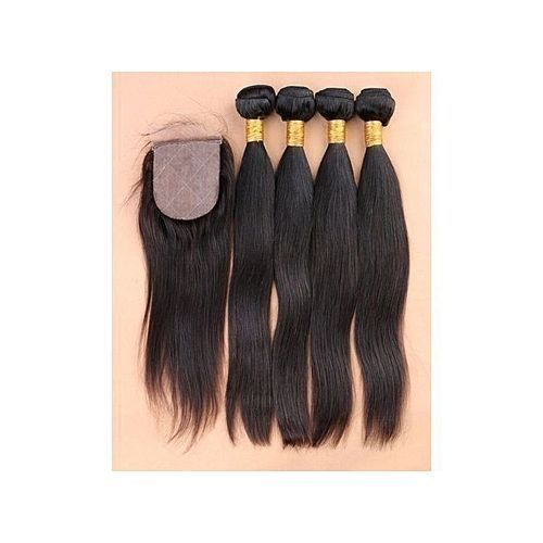 Silky Straight Human Hair + Closure (4 Bundles) Full Hair