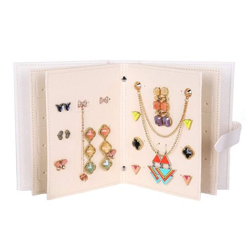 Jewelry Organizer - Portable Earring Holder, 42 Pairs Earrings Leather Book Jewelry Display Organizer Ear Studs Storage Book, Earrings Organizer Book Is Best Gift For Women(White)