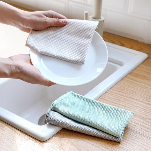 3 Pcs Strong Water Absorption Fish Scale No Water Stain Kitchen Rag