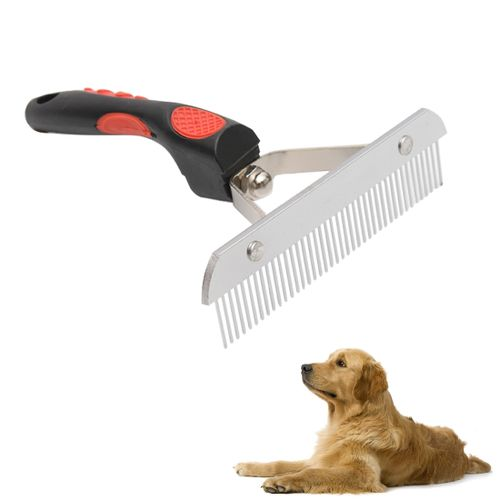 Big Dog Hair Combs Stainless Steel Pet Grooming Rake Comb Rubber Handle Hairdressing Brush Tool, Size: 17.0x16.0cm