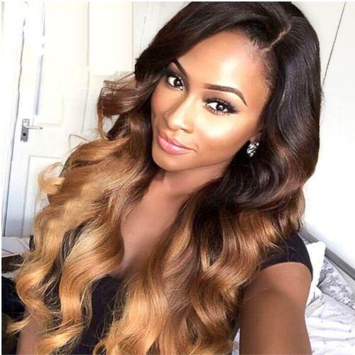 Ombre Romance Curly Hair - Black/Light Gold -6 Bundles