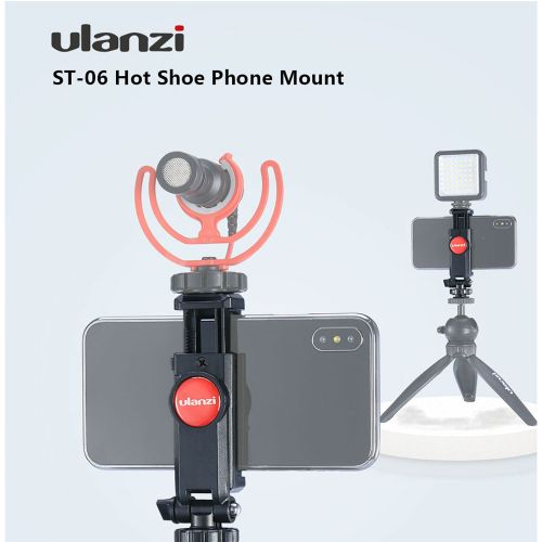 Ulanzi ST-06 360 Degree Rotation Vertical Bracket Phone Clip Holder Clamp Mount With Cold Shoe For DSLR Phone Photo Monitoring